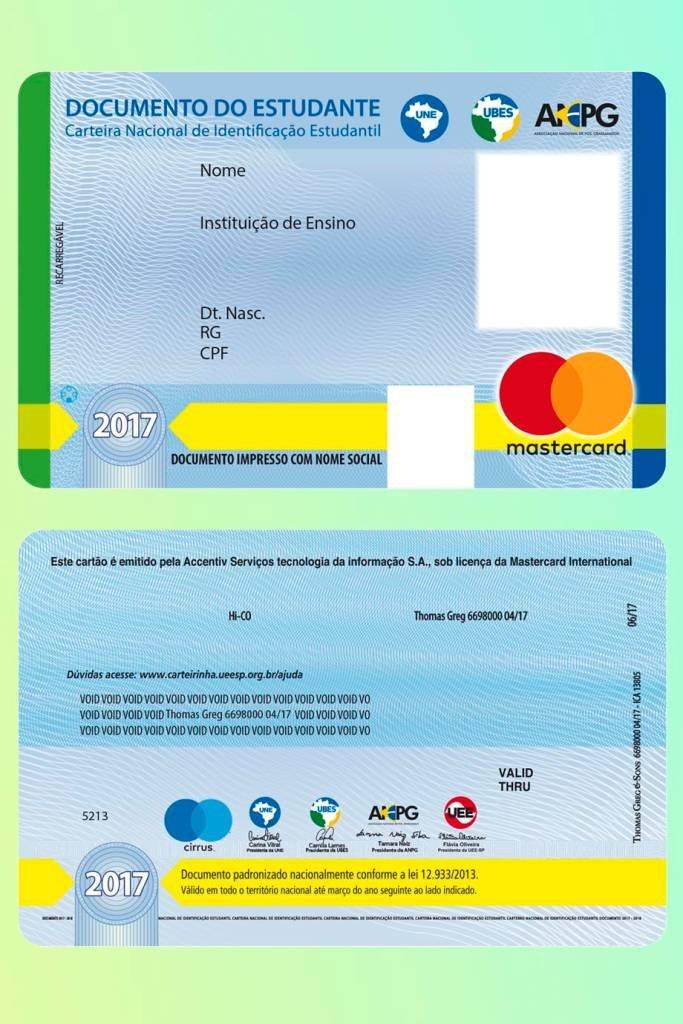 Frente e verso da carteirinha de estudante com função de cartão pré-pago