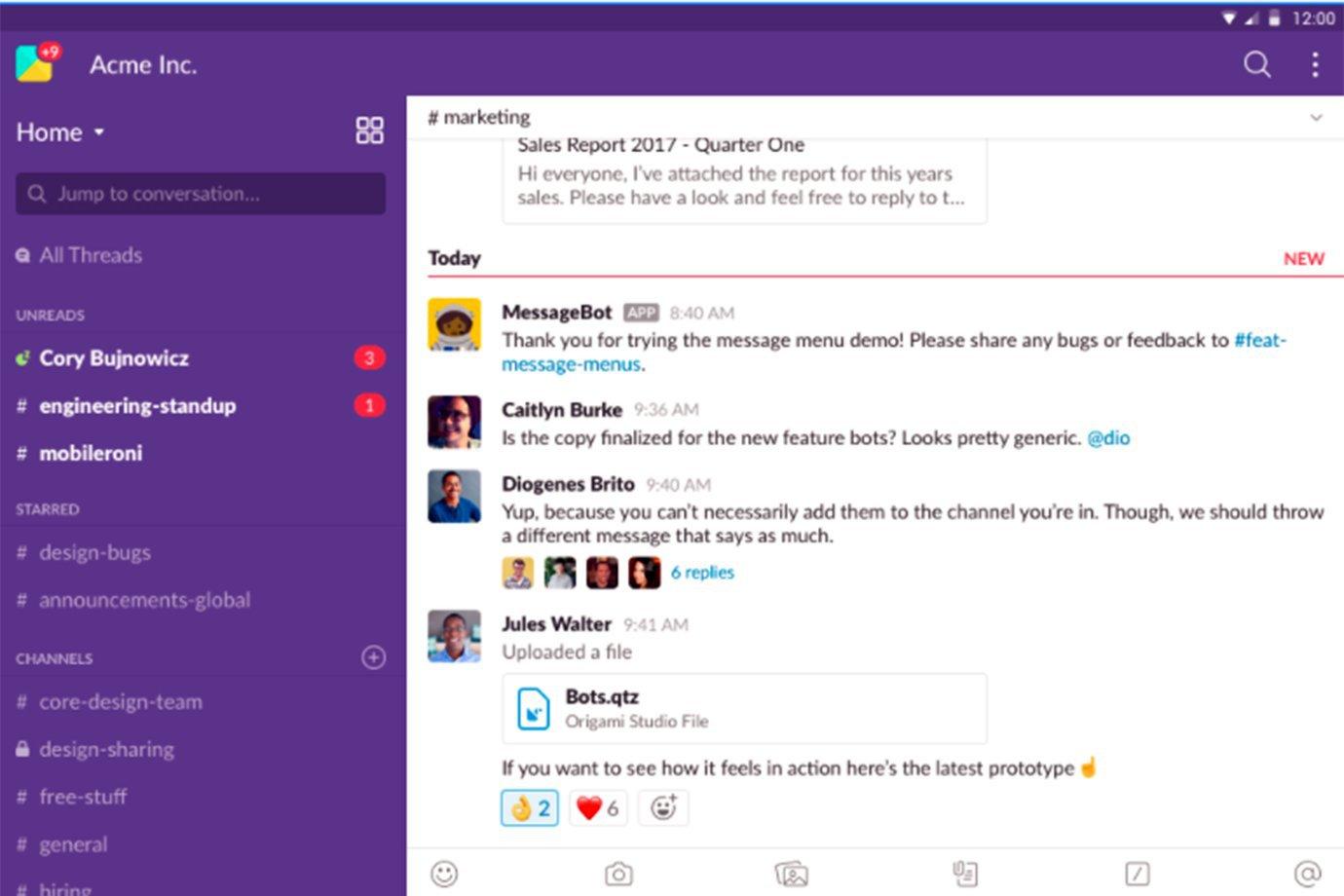 Tela de reprodução do aplicativo Slack