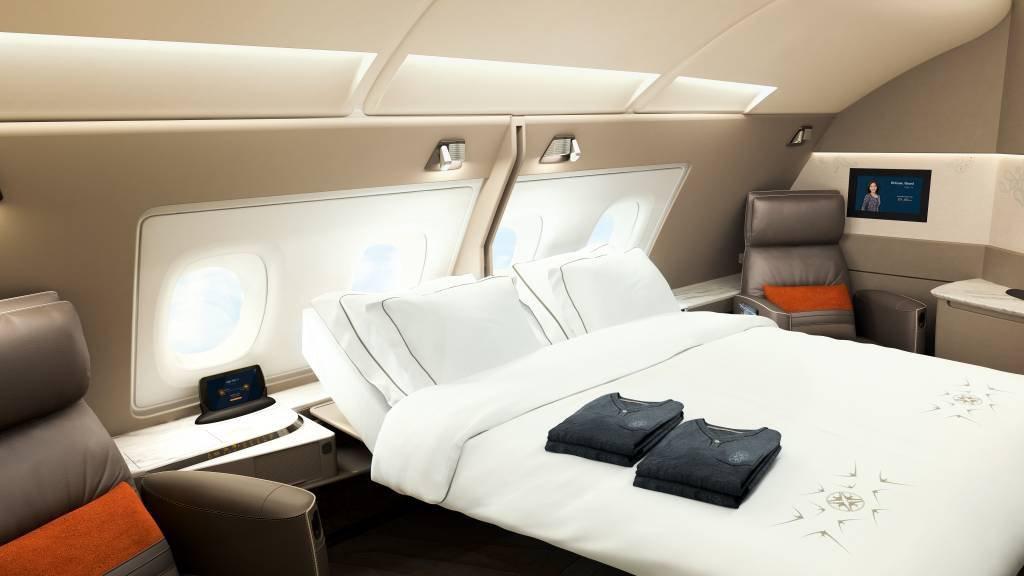 Novas suítes de luxo do avião A380, da Singapore Airlines