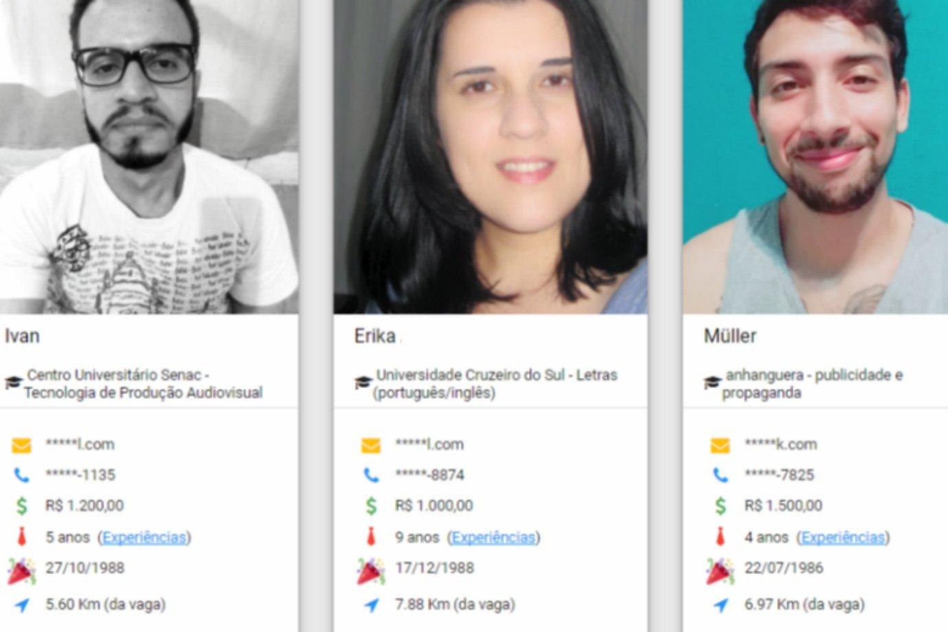 Exemplos de perfis de candidatos na plataforma do Empreguei