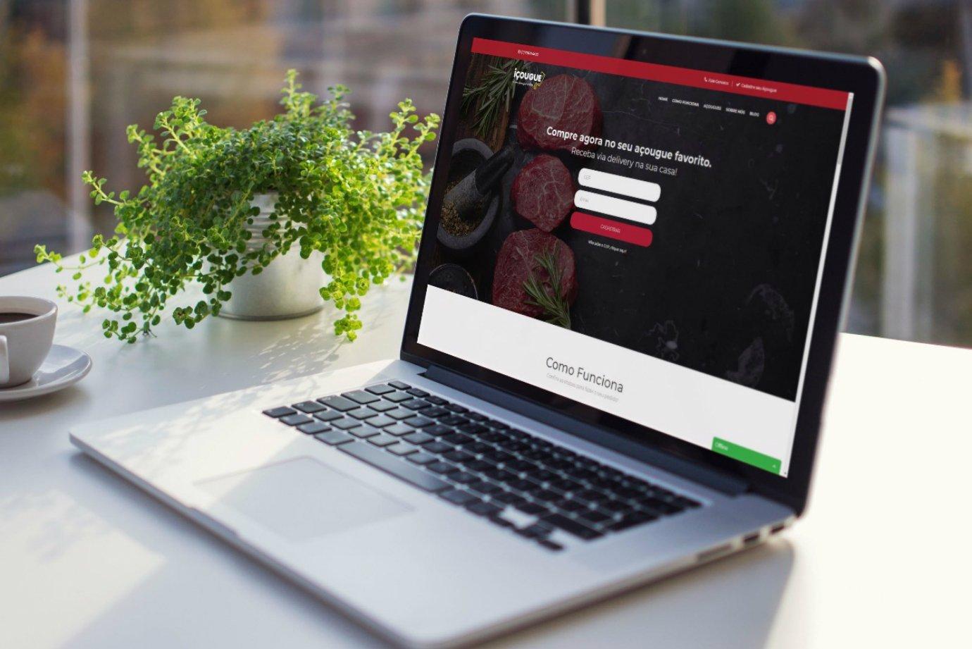 Tela com o site da startup Içougue