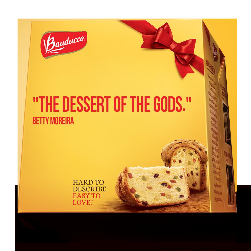 Embalagem do panetone Bauducco nos EUA: frases reais para convencer americanos a provarem o doce
