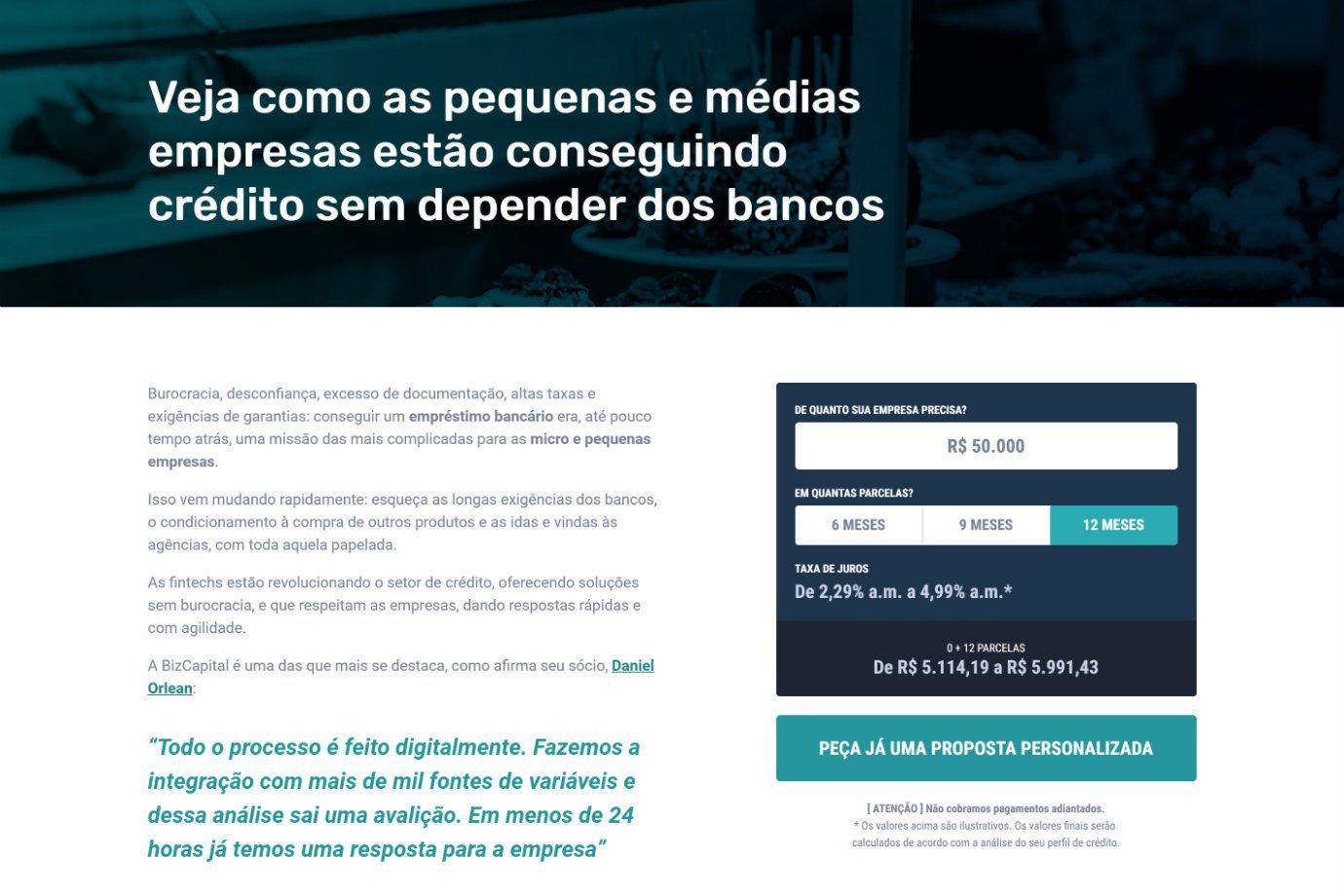 Tela de reprodução do site da BizCapital