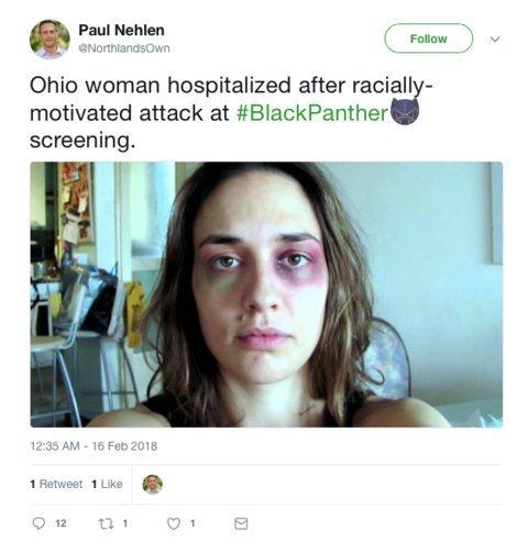 """Mensagem no Twitter: usuários inventaram que ataques raciais de negros contra brancos estavam acontecendo durante exibições do filme """"Pantera Negra"""""""