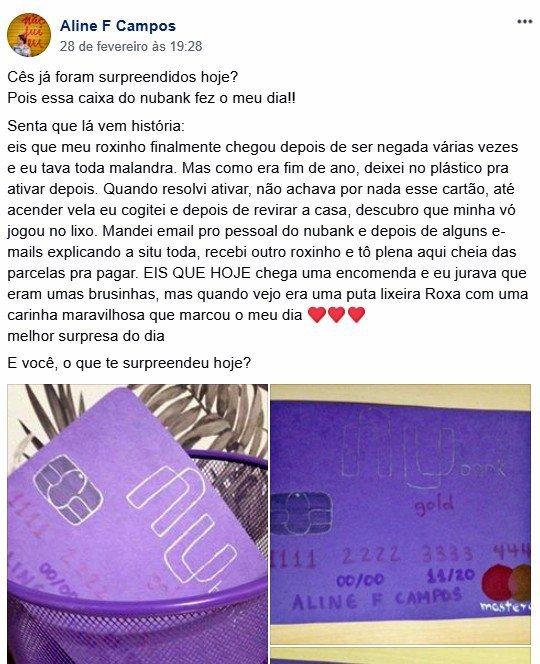 Nubank: enviou presente a uma consumidora que perdeu cartão