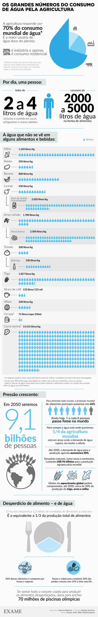 Infográfico sobre o consumo de água na agricultura.