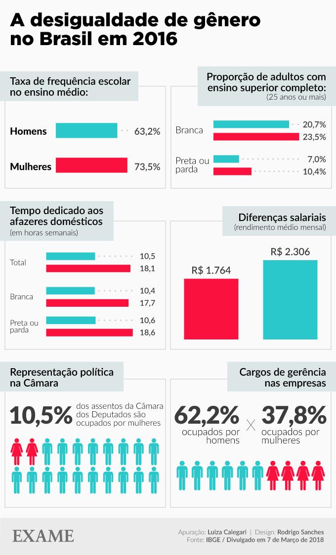 Estatísticas das desigualdades de gênero no Brasil em 2016, segundo o IBGE