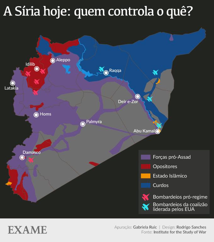 Infográfico que mostra o território da Síria após sete anos de guerra