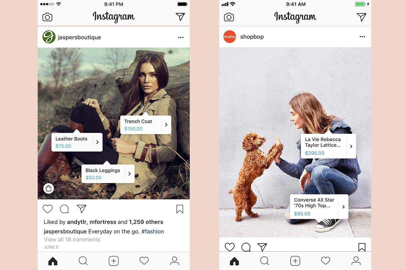 Exemplos do recurso Compras no Instagram