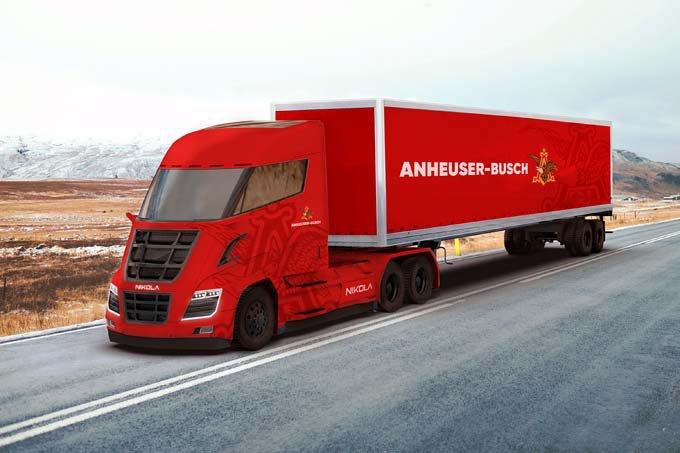 Imagem de computador de futuro caminhão movido a hidrogênio que será usado pela Anheuser-Busch, dona da Budweiser, para transportar cervejas