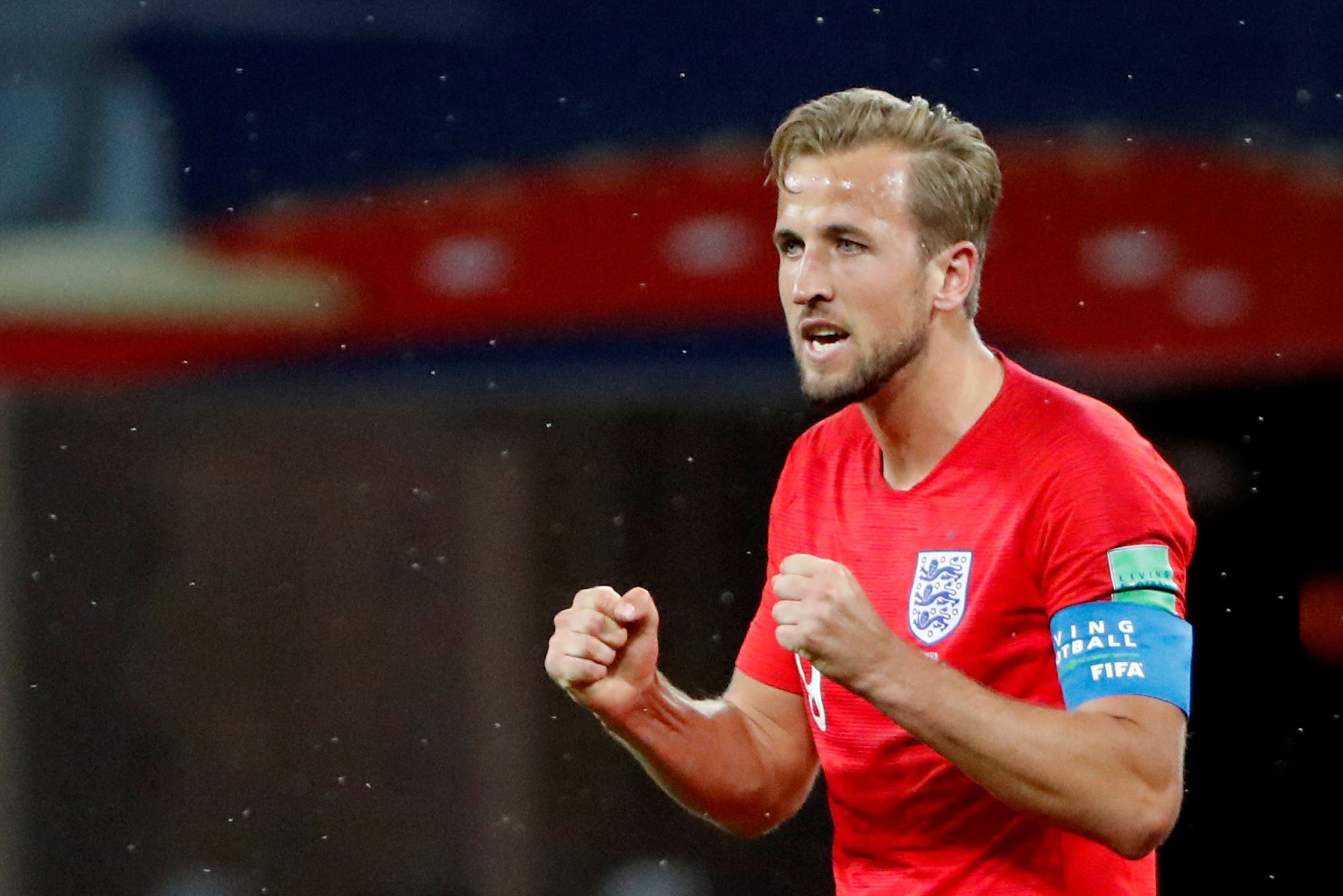 O britânico Harry Kane comemora após o jogo da Inglaterra contra a Tunísia na Copa do Mundo 2018