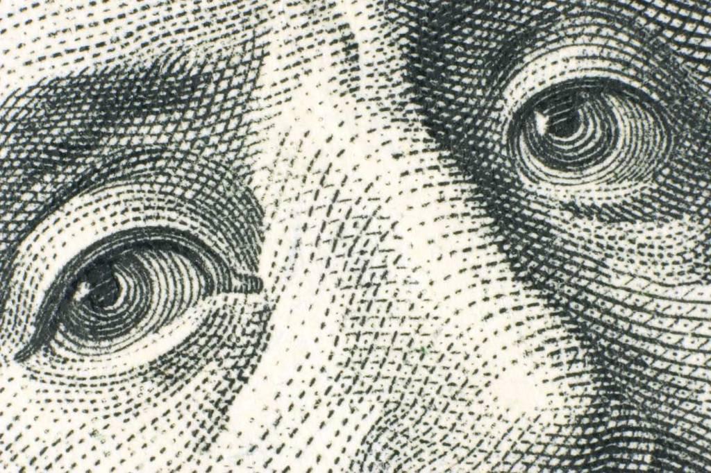 Moeda de dólar em foco