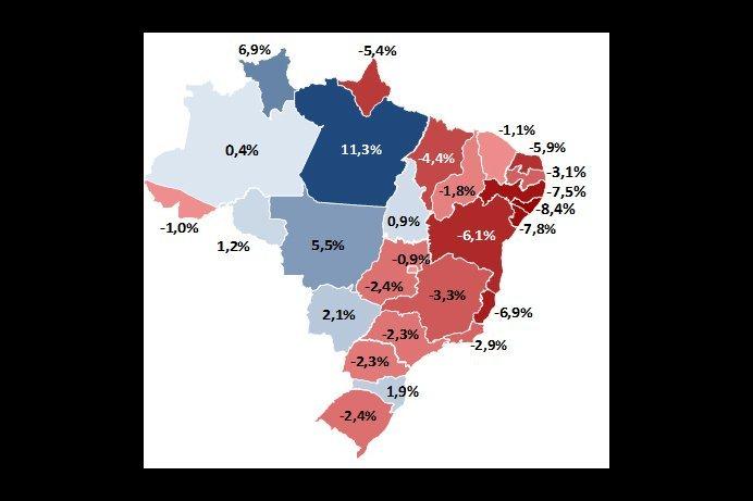 Mapa mostra o PIB dos estados em relação ao pré-crise