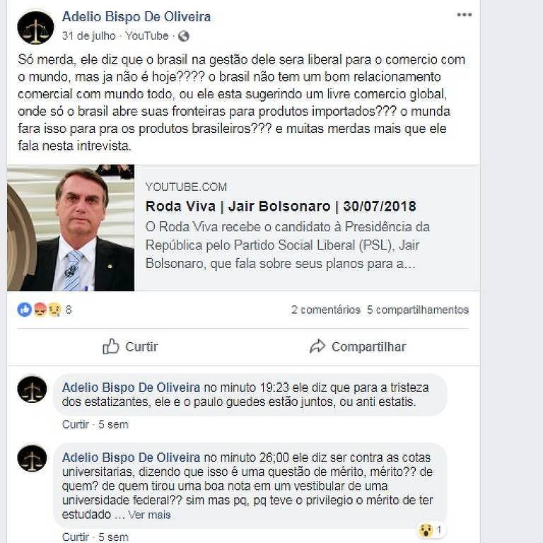 Postagem no Facebook de Adélio Bispo de Oliveira