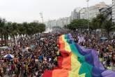 Parada LGBTI na praia de Copacabana no Rio de Janeiro em 30/09/2018