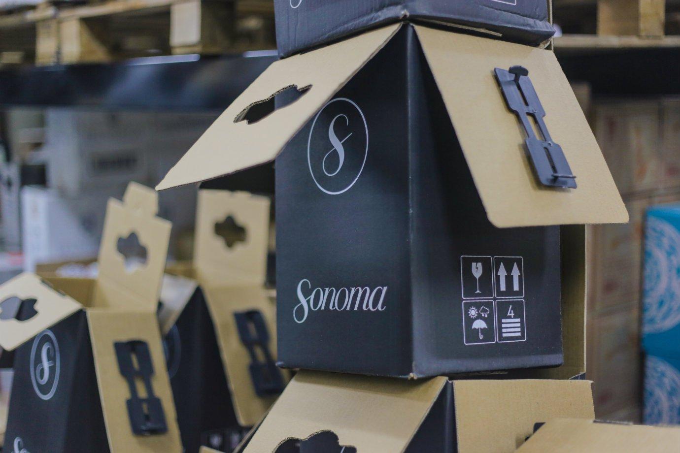 Caixas de entrega da Sonoma, e-commerce de vinhos