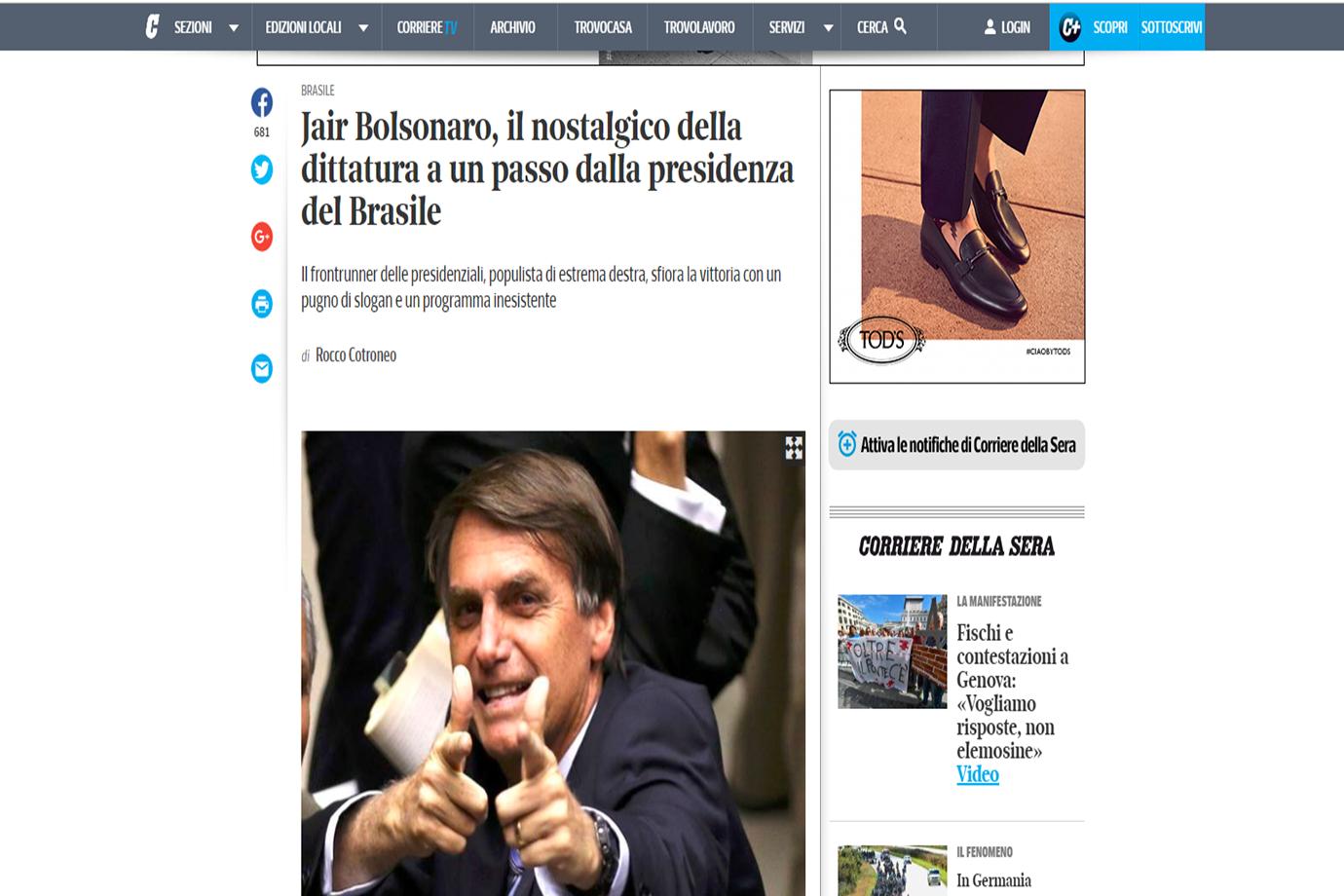 """Corriere della Sera: """"Jair Bolsonaro, o nostálgico da ditadura a um passo da presidência do Brasil"""""""
