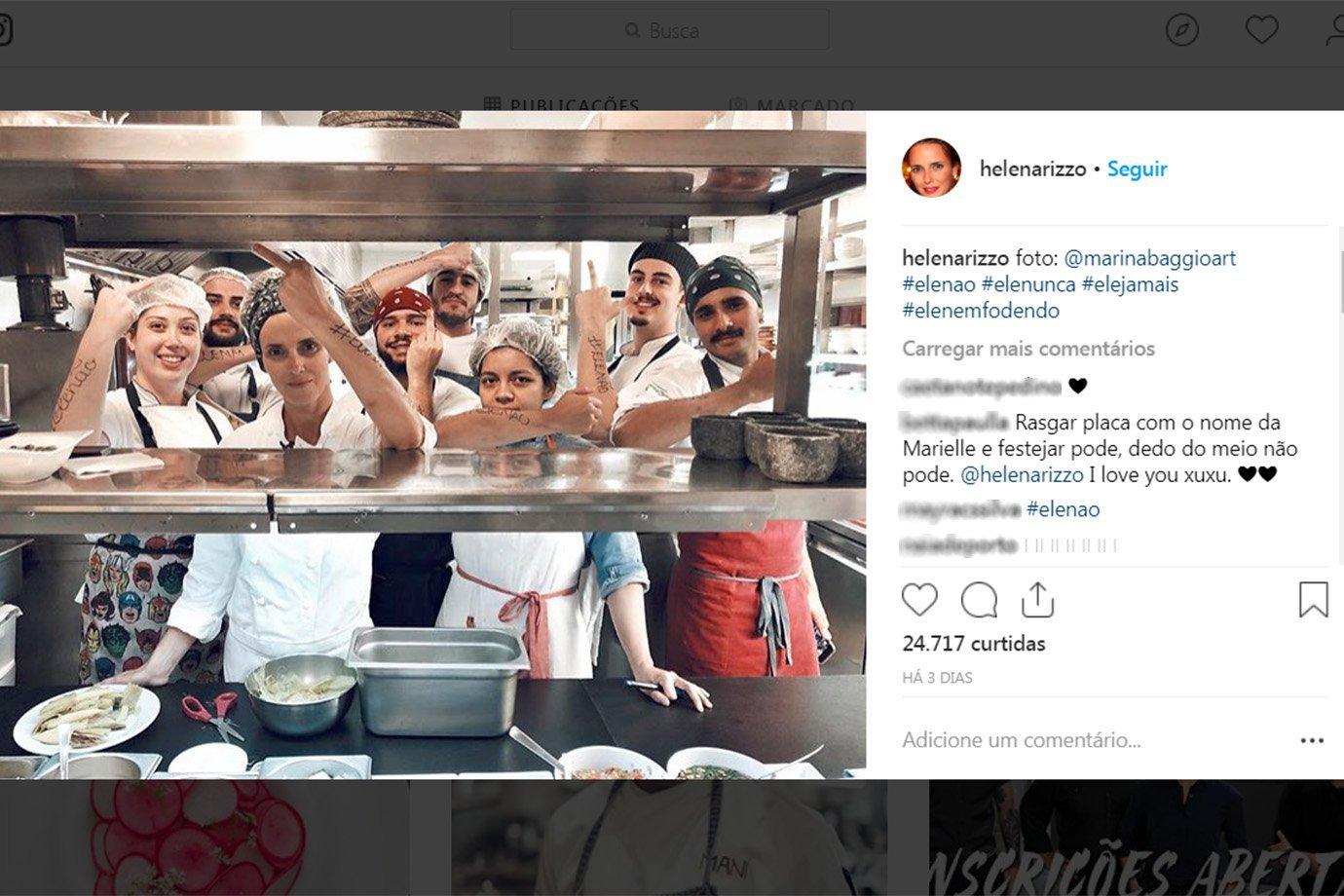Postagem da chef Helena Rizzo, do Maní, no Instagram