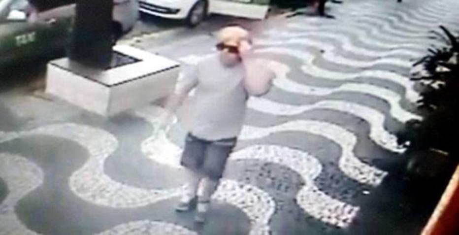 Flávio Nascimento Graça em imagens de câmeras de segurança: assassino usava peruca loira e óculos em ataques