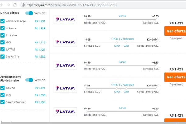 Tabelas extraídas do Viajala.com.br que mostram a LATAM com preços mais baixos - R$1.421 no voo com escalas e R$1.486 no voo direto - na passagem de ida no dia 6 de janeiro e volta no dia 25 de janeiro, através de agência de viagem. O segundo melhor preço é o da Sky: R$1.596, no voo direto