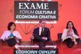 Glória Braga, do Ecad, Victor Drummond, advogado, e Carolina Panzolini, do MinC, no no EXAME Fórum Cultura e Economia Criativa 2018