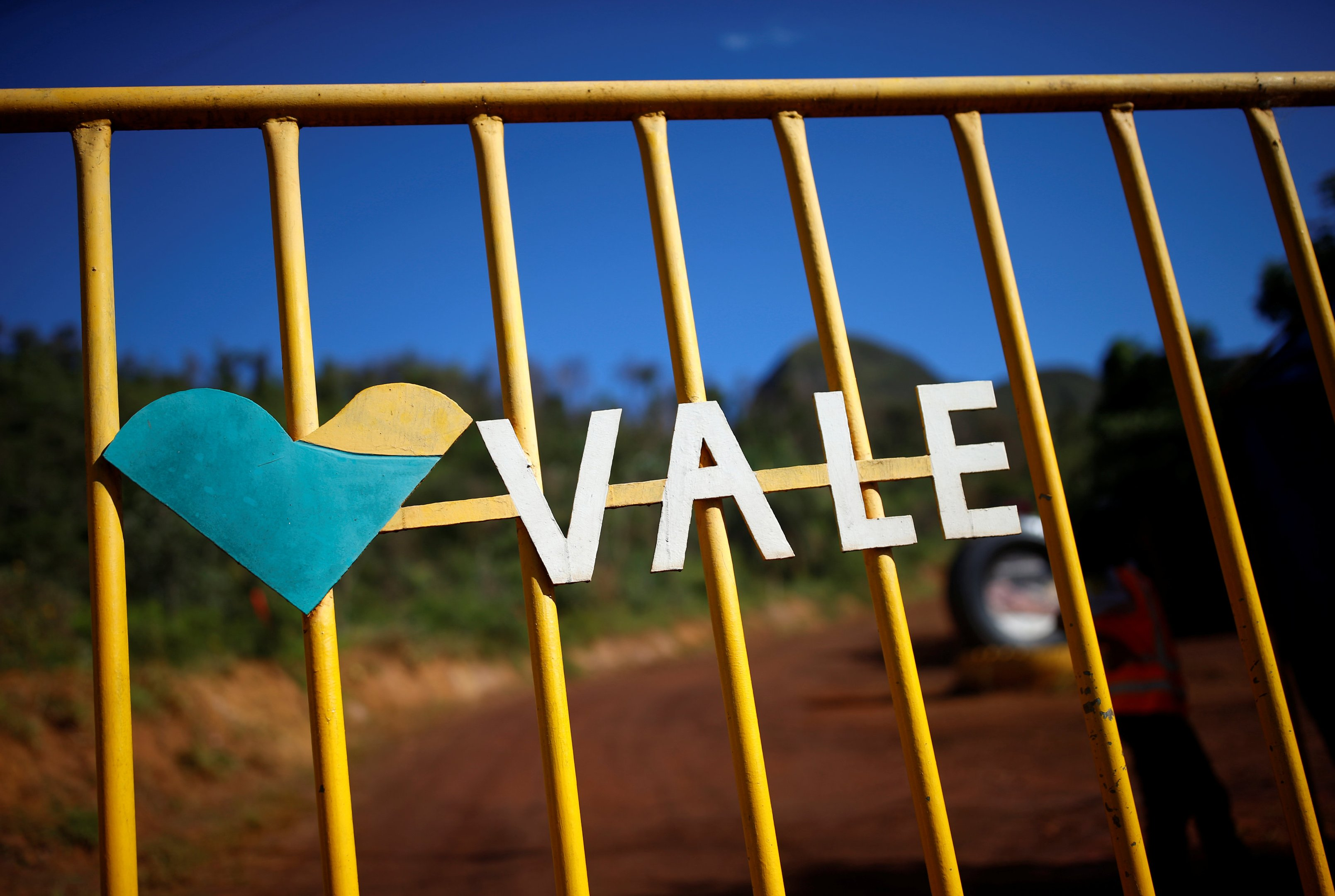 A logo of the Brazilian mining company Vale SA is seen in Brumadinho