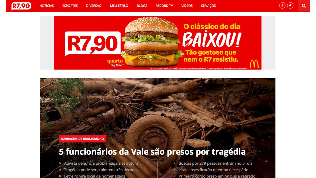 Ação do McDonald's: mudança do nome do R7.com para anunciar mudança de preços