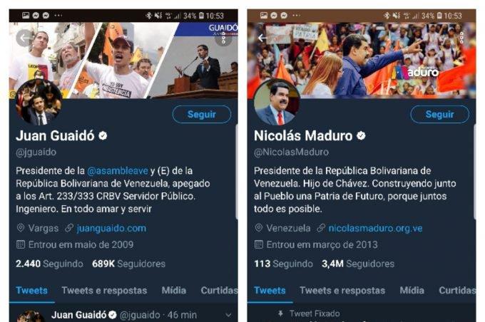 Twitter Nicolás Maduro e Juan Guaidó