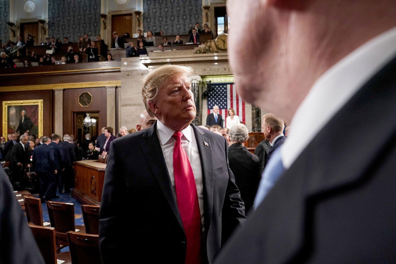 Donald Trump durante discurso ao Congresso americano