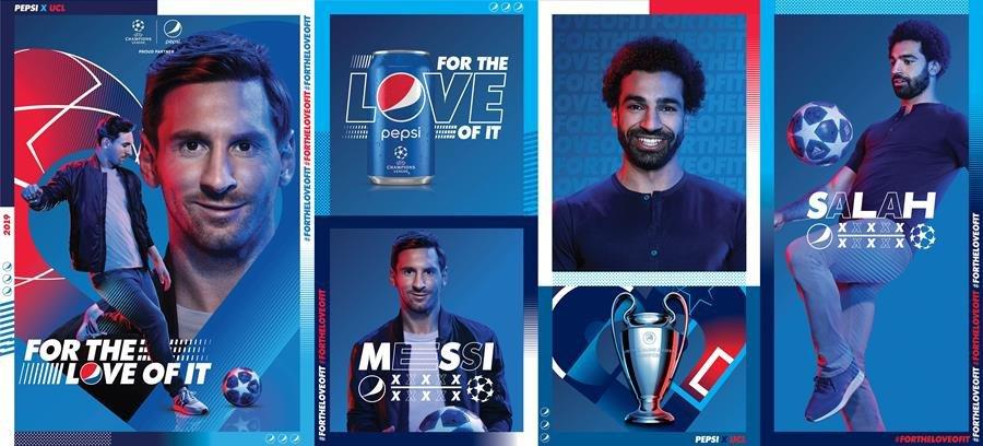Pepsi na UEFA Champions League: parceia com Lionel Messi e Mohamed Salah