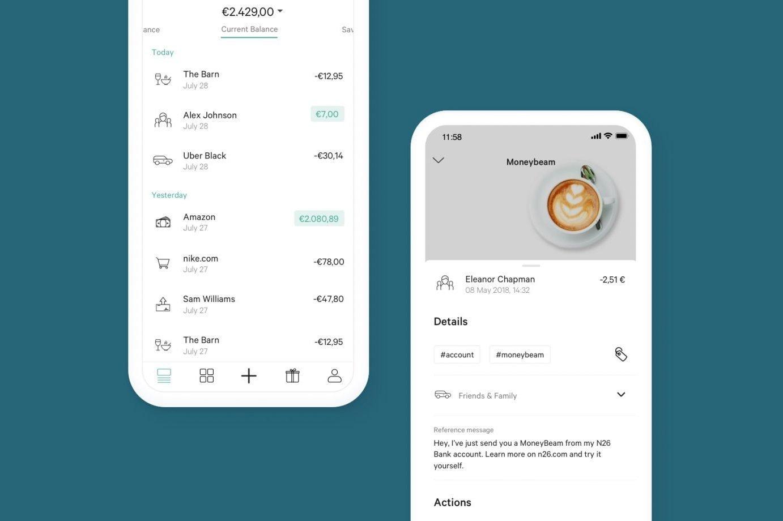 Telas do aplicativo do banco digital N26