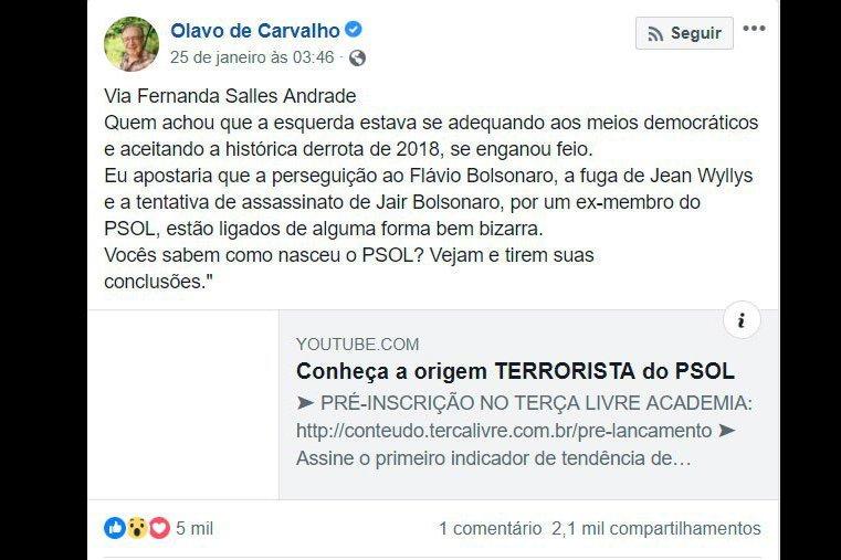 Print de Olavo de Carvalho