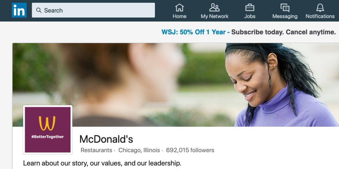 McDonald's: perfil da empresa no LinkedIn também mudou logo para Dia da Mulher