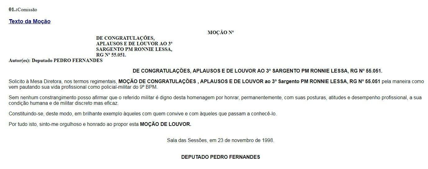 Moção para Ronnie Lessa recebeu uma moção de congratulações, aplausos e de louvor no fim do ano de 1998.