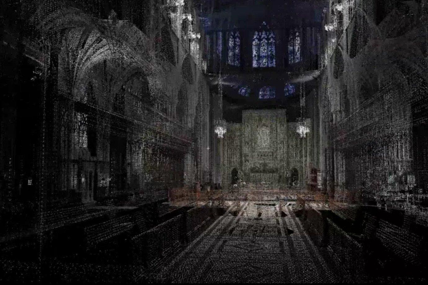 Escaneamento da Catedral de Notre-Dame por Andrew Tallon
