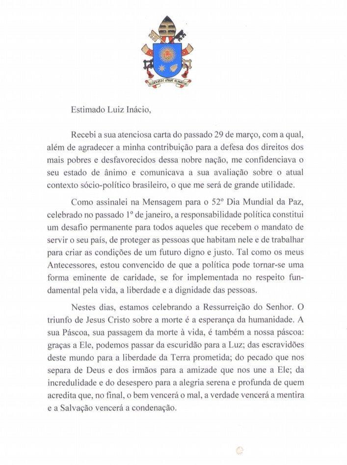 Carta do Papa Francisco ao Lula