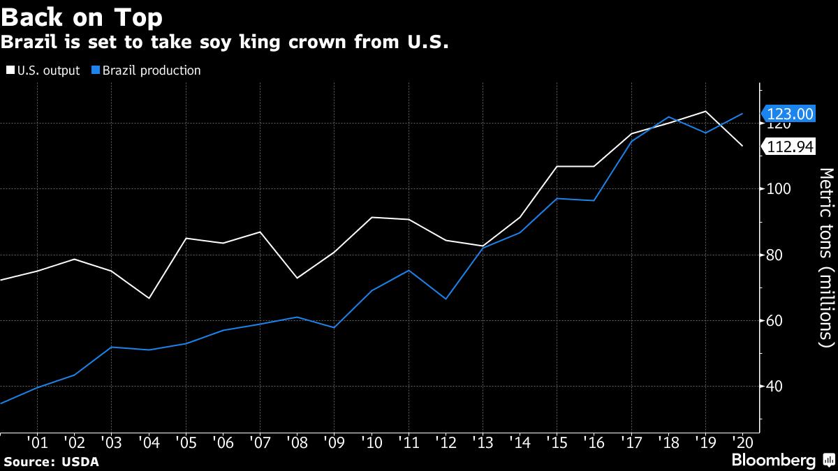 Brasil tomará a coroa norte-americana de naior exportador de soja do mundo. Bloomberg