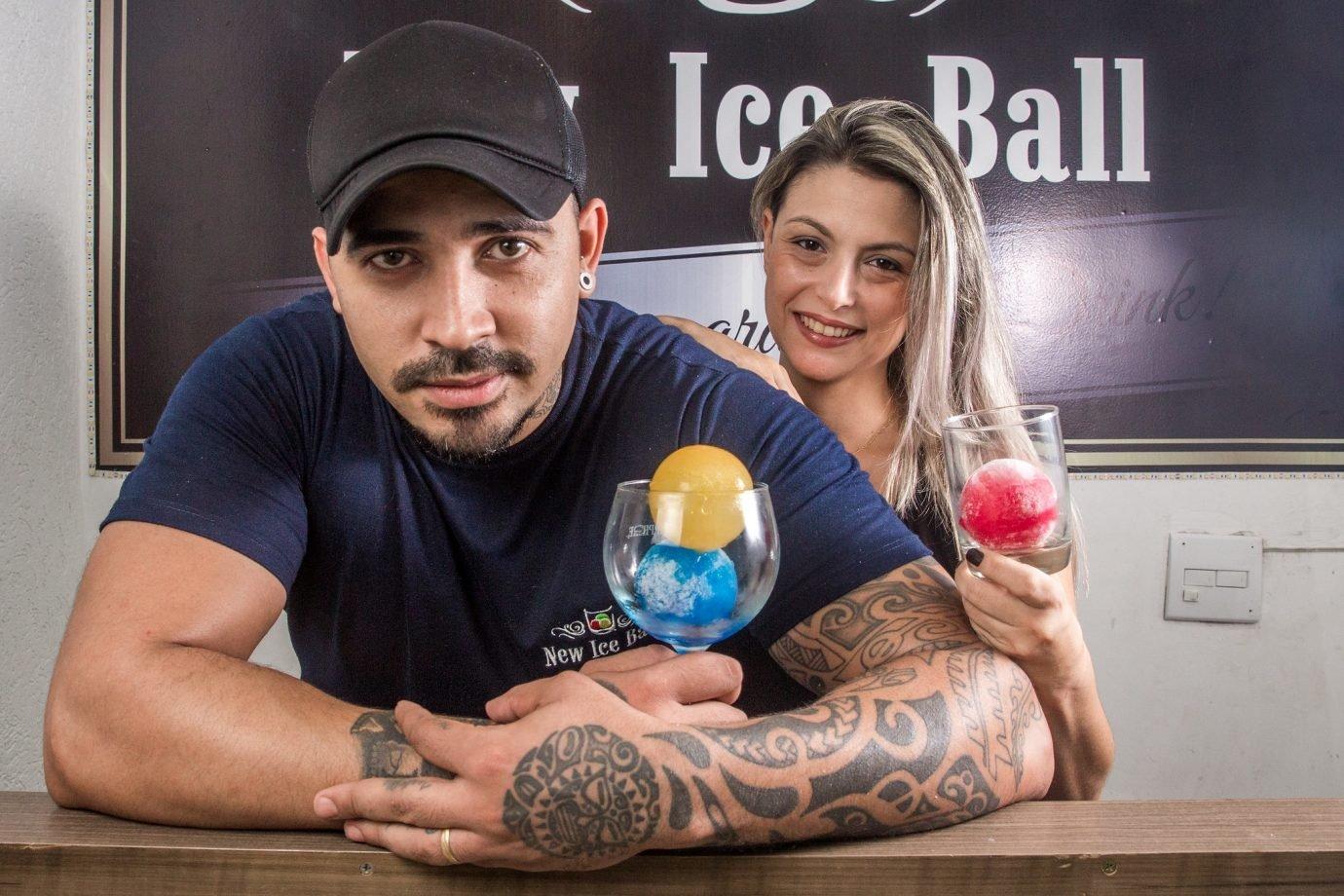 Emerson e Micheli Araujo Fontanarosa: eles são casados e deixaram os empregos para se dedicarem ao empreendedorismo e montaram a New Ice Bar, empresa de gelos saborizados