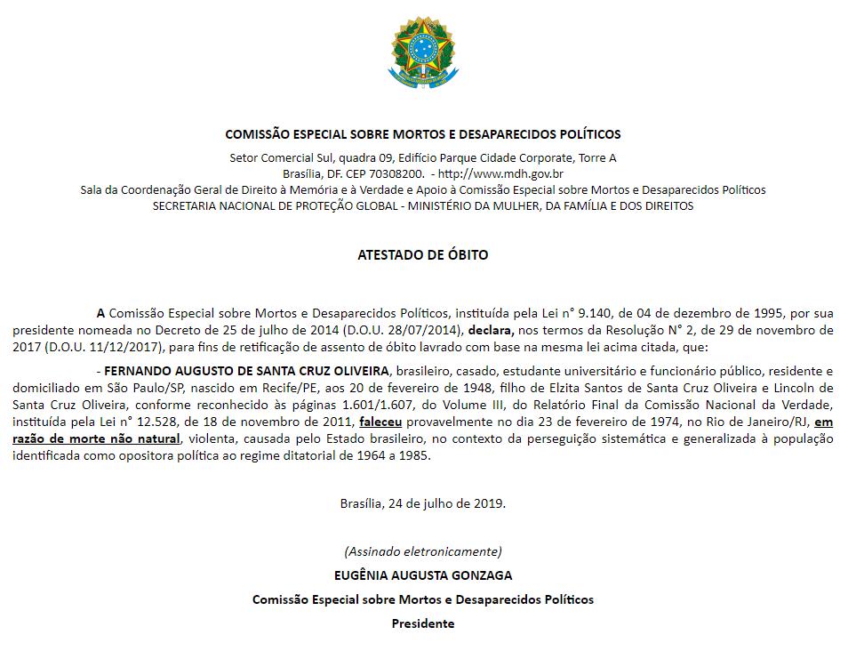 Atestado de óbito Fernando Santa Cruz emitido pelo governo Bolsonaro