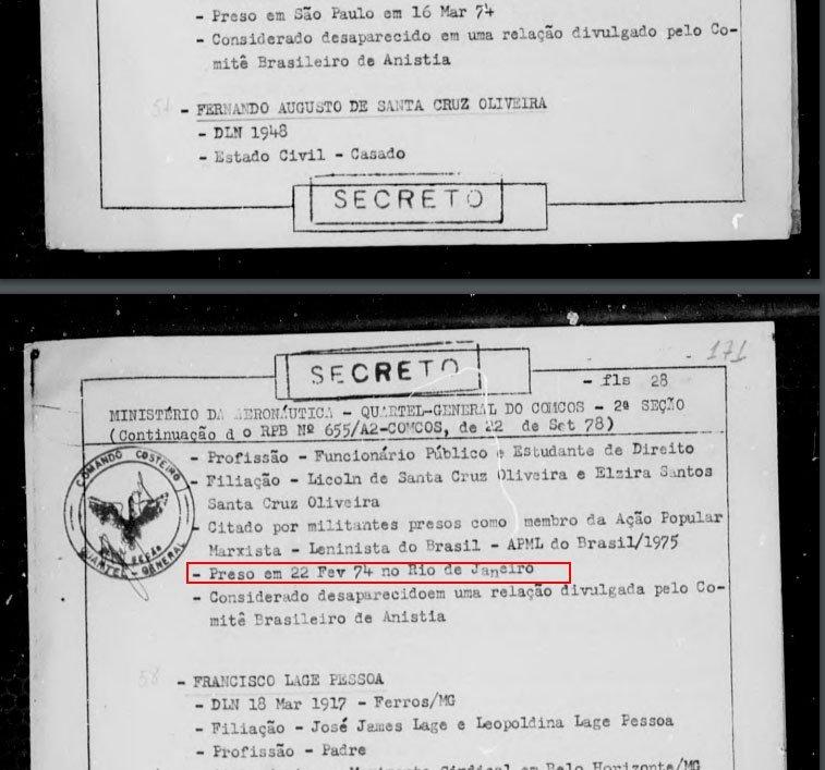 Documento produzido pelo Ministério da Aeronáutica sobre Fernando Santa Cruz