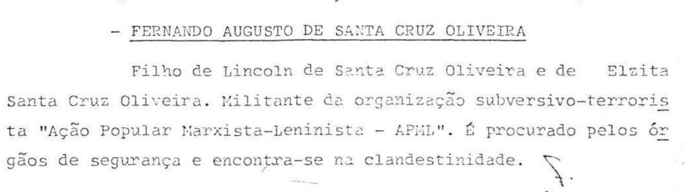 Nota do Ministério da Justiça sobre desaparecimento de Fernando Santa Cruz