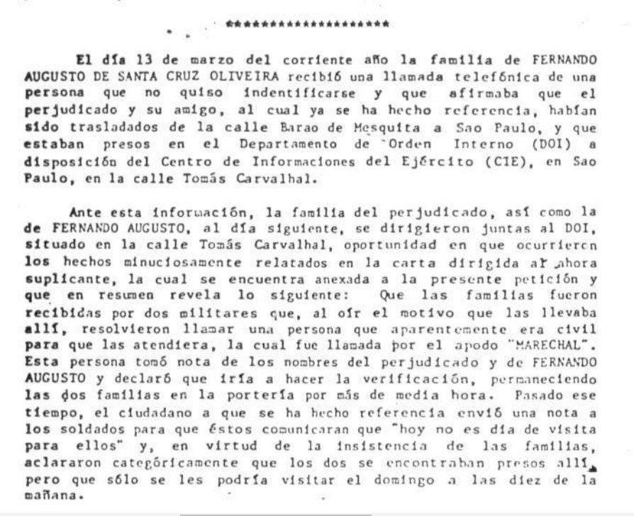 Trecho do relatório da Comissão Interamericana de Direitos Humanos sobre desaparecimento de Fernando Santa Cruz
