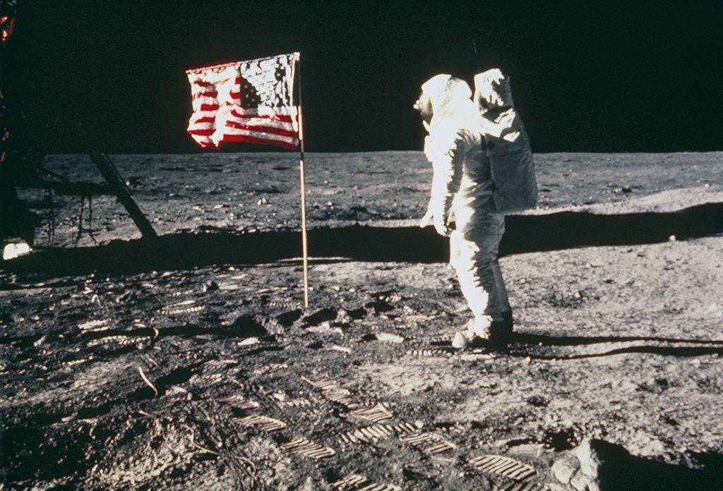 Apollo 11astronaut Edwin Buzz Aldrin, on the Moon, 1969.