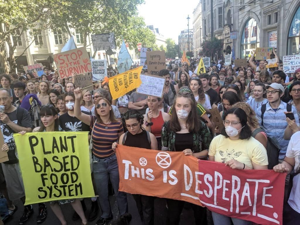 Centenas de pessoas protestam em frente a embaixada brasileira em Londres contra os incêndios na Amazônia