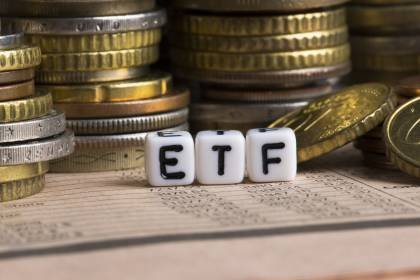 ETF, Exchange Traded Fund, an investment fund traded on stock exchanges, conceptual image