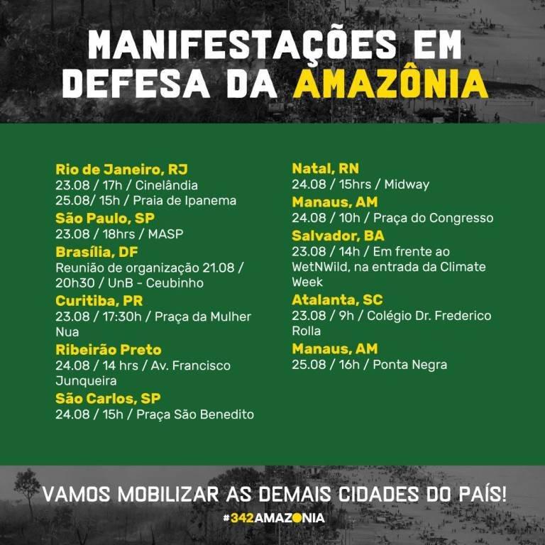Manifestações em defesa da Amazônia