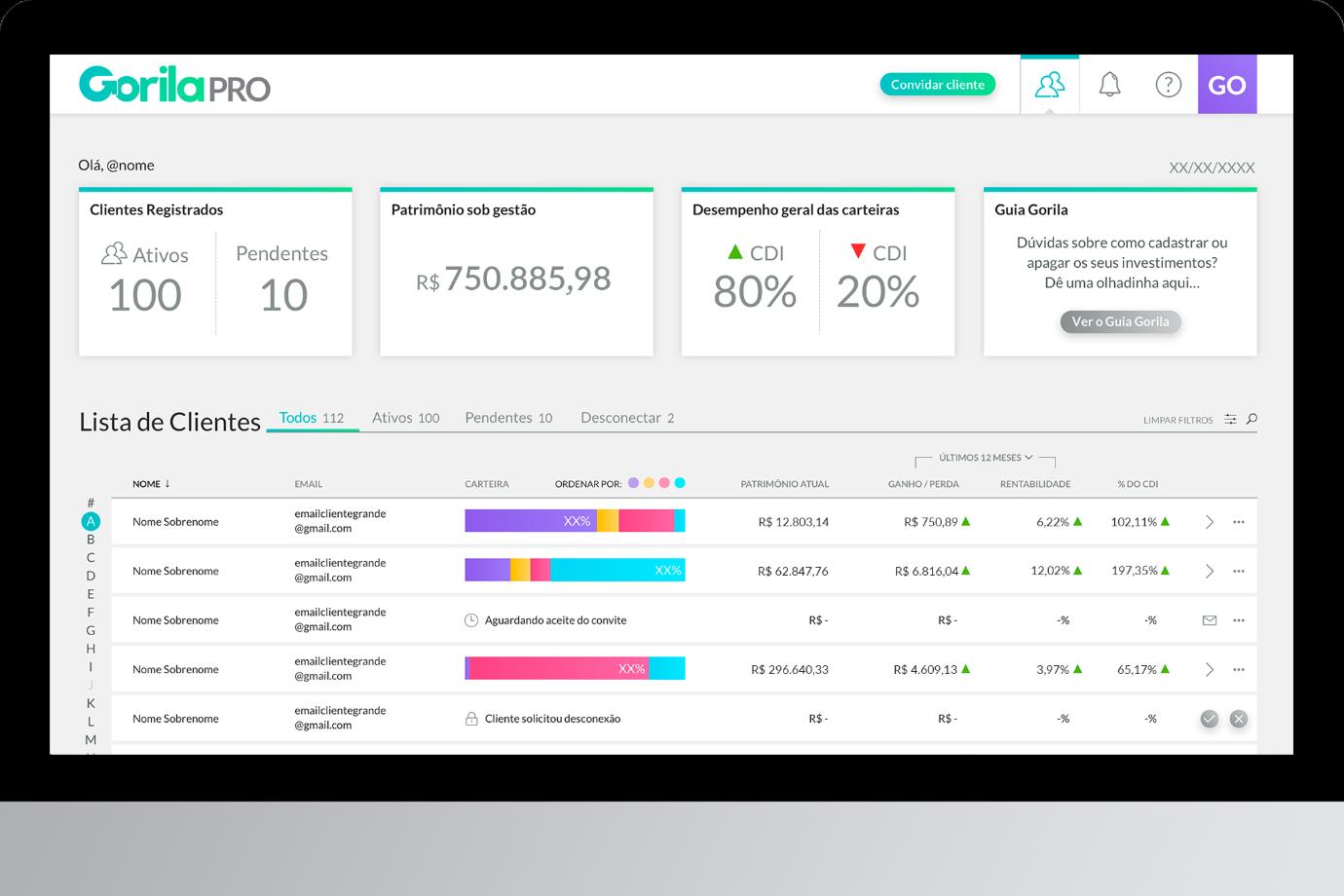 Plataforma GorilaPRO, para corretores e gerentes