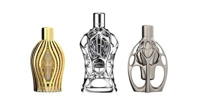 F1 fragrance collection limited edition luxury art-pieces 3D printed design by Ross Lovegrove from left to right AGILE EMBRACE, COMPACT SUSPENSION and FLUID SYMMETRY