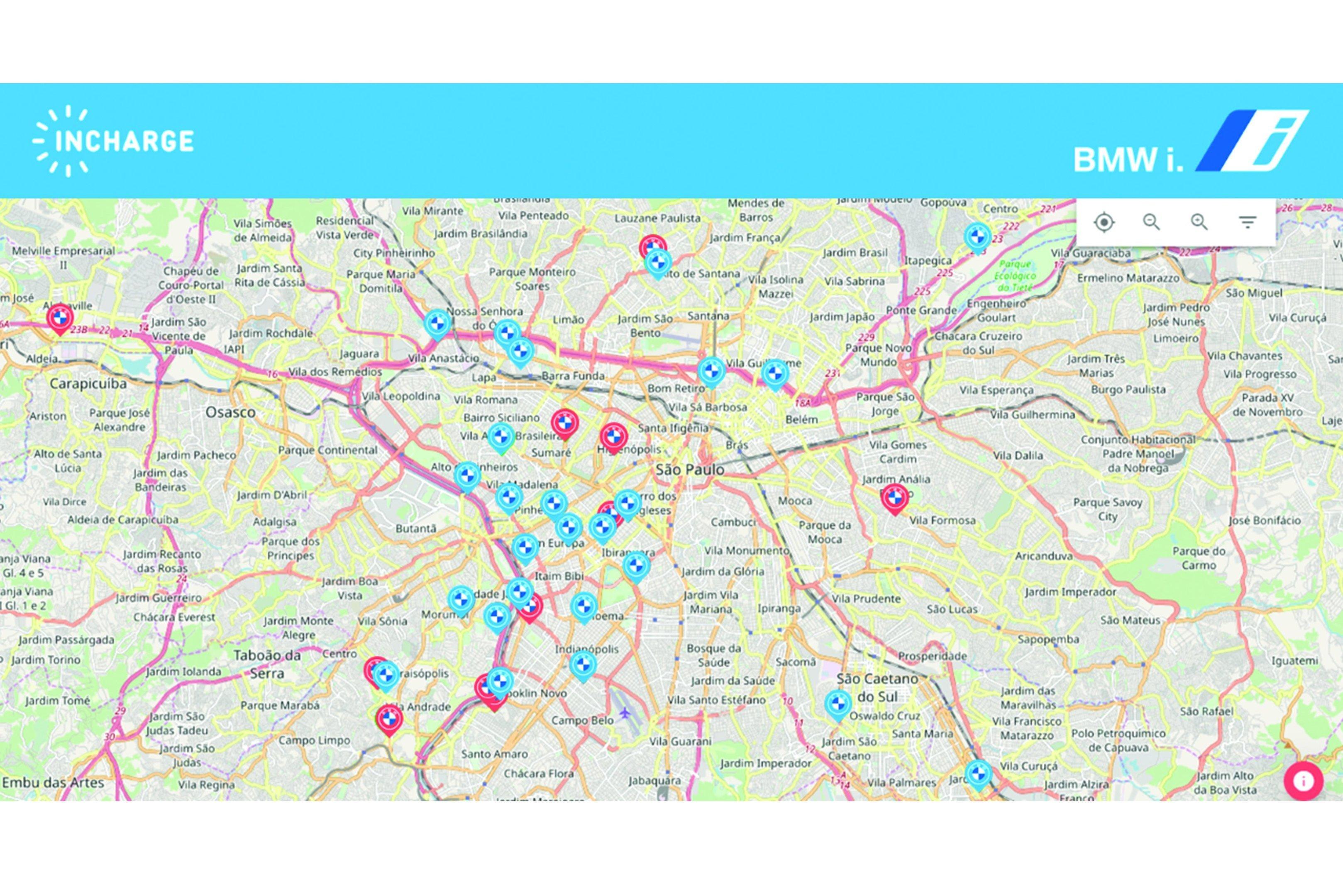 Mapa de postos de recarga no app Incharge