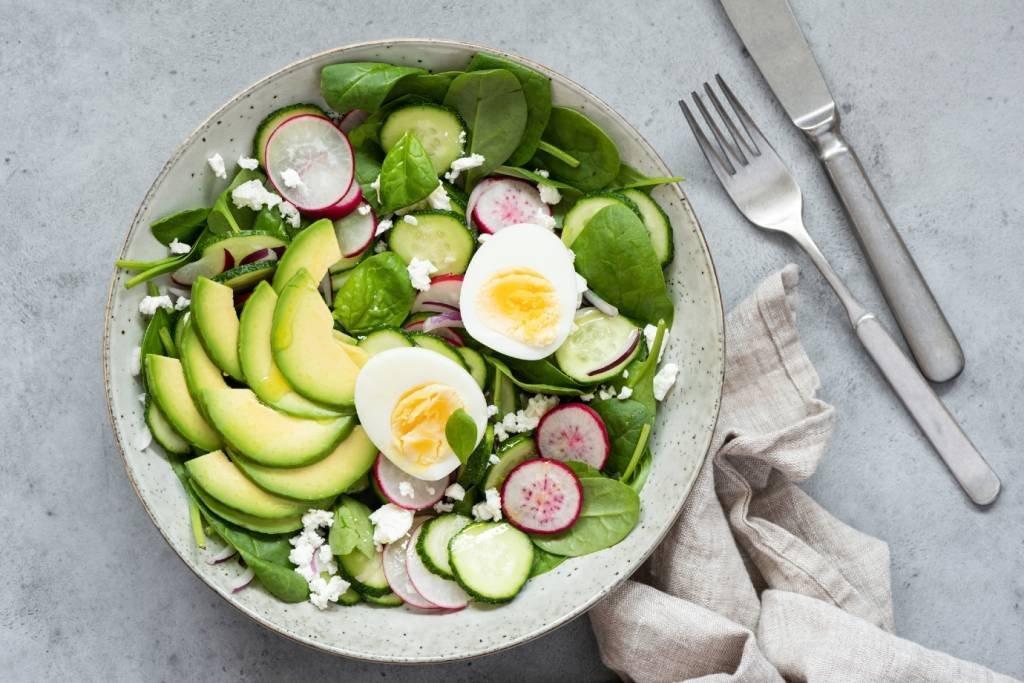 Prato de Salada de baixa caloria